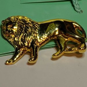 Jewelry - Vintage Large Big Gold Lion Animal Pin Brooch